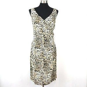 Muse 100% Silk Leopard Print Sheath Dress Sz 14